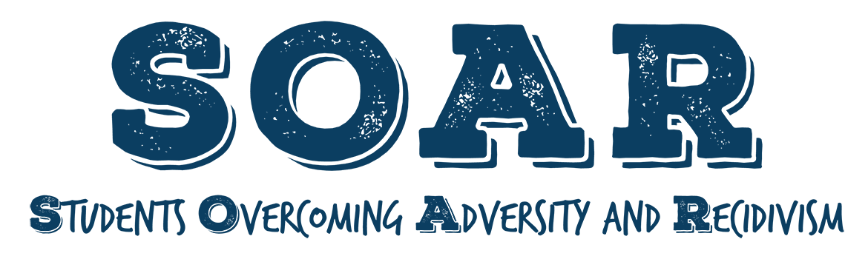 SCC SOAR header, SOAR logo in blue print with white background.