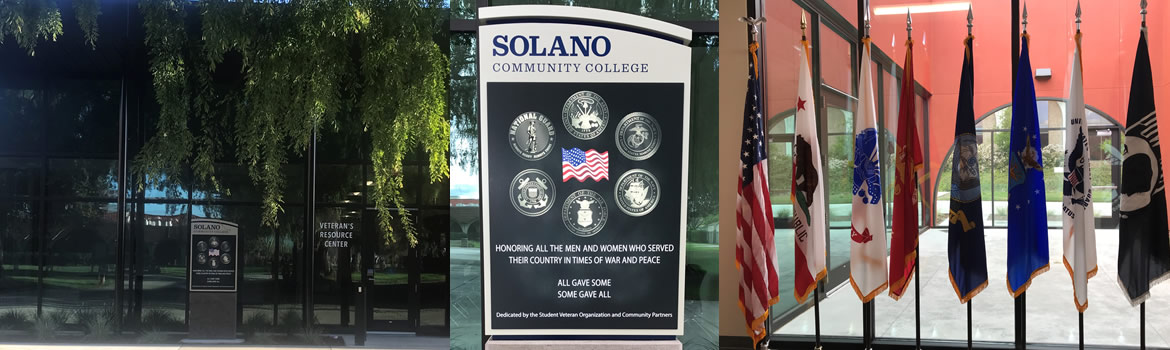 Veterans Affairs Center Header Image. Collage of three veteran pics. First is front to Veteran Resource Center Building. Second is Veteran Center Signage. Third is U.S. Military Flags within Veteran Center.